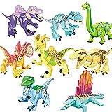 ATIN Juego de 8 bloques de construcción de dinosaurios Jurassic World Park Mini figura de juguete para niños