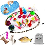 AILUKI 29 PCS Cat Toys Kitten Toys Assortments, Variety Catnip Toy Set Including 2 Way Tunnel,Cat Feather...