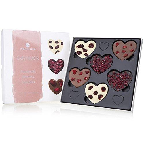 Sweethearts - 6 bestreute Schokoherzen | Liebesgeschenk | Frau | Mann | zum Valentinstag | Ich liebe dich Schokolade | Weihnachten | Liebesgeschenk | Geschenke | Frauen | Männer | Freundin | Kinder