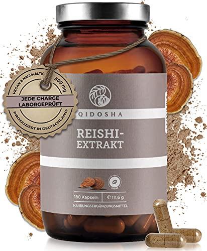 QIDOSHA® Reishi Extrakt Kapseln, hochdosiert 500 mg pro Kapsel, 180 Stk. im Glas, Premium Reishi Pilz Ganoderma lucidum, vegan, laborgeprüft