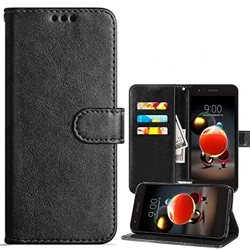 LG Aristo 3/LG Aristo 2/Aristo 2 Plus Wallet Case,Rebel 4 LTE/Tribute Empire/Dynasty/Zone 4/Phoenix 4/Risio 3/K8 2018/ K8 Plus/Fortune 2 Case,PU Leather Cover w Card Slots/Screen Protector,Black