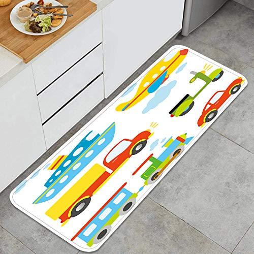 Cocina Antideslizante Alfombras de pie Tipos de Transporte Abstractos para niños pequeños Coche Barco Camión Decoración de Piso Confortables para el hogar, Fregadero, lavandería-120cm x 45cm
