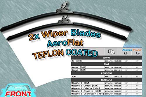 [S950/22/20] ruitenwissers Aero Style/kit - 2 x messen 22 '(550 mm] / 20 ' [500 mm] Pas Peugeot 306 / Renault Mégane I aan