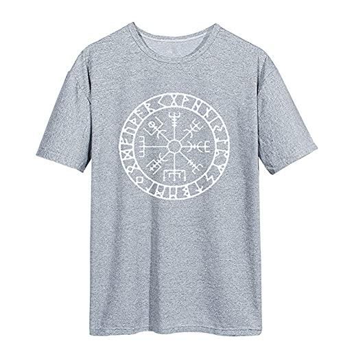 SBRTL Camiseta de Runa Nórdica, Brújula Mítica Vikinga Vegvisir Futhark Símbolo Valhalla Amulet Top Cinco Colores,Gris,3XL