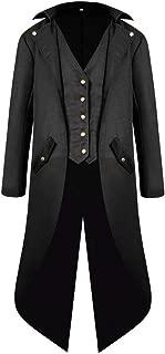 Mens Medieval Renaissance Steampunk Vintage Tailcoat Jacket Gothic Victorian Halloween Costume Long Coat