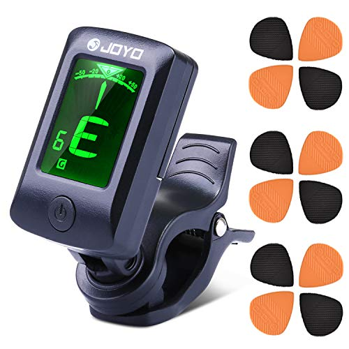 Accordatore Chitarra Clip Digitale EXJOY Tuner Elettrici di Alta Sensibilità con 5 Modalità, 12 Plettri per Chitarra, Adatto per Chitarra, Basso, Viol