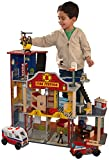 Bendable firefighters Garage with ambulance and fire truck Large enough that multiple children can play at once Sturdy wood construction Includes detailed step-by-step assembly instructions Skill Level: Beginner Silver bell hangs from front of fireho...
