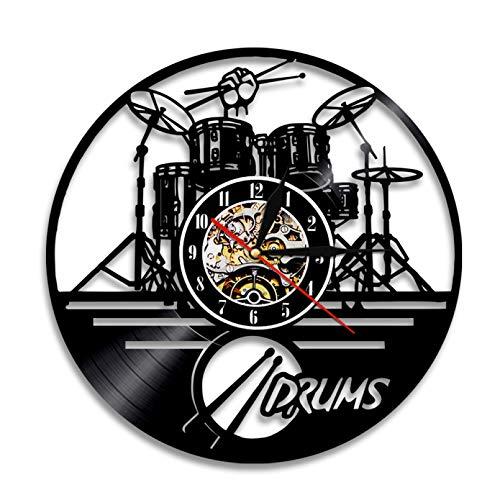 ZZLLL Tambor Personalizado Reloj de Pared de Tambor Instrumento Musical Kit de batería Decoración de Pared Disco de Vinilo Reloj de Pared Amante de la música Drummers Regalo