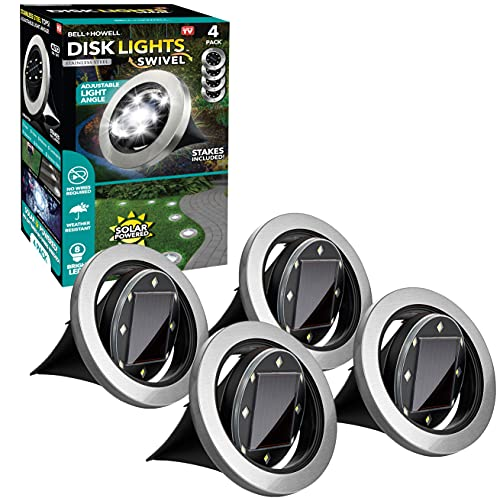 Swivel Disk Lights by Bell+Howell Solar-Powered In-ground 8-LED Flat and Landscape Lighting for Outdoor, Yard, Garden and Lawn – Wireless, Easy Installation, Stakes Included - Deluxe As Seen On TV