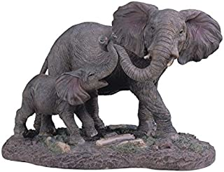 StealStreet SS-G-54137 Gray Elephants Mother & Child Playing with Trunks Figurine, 6.5