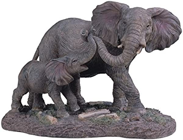StealStreet SS G 54137 Gray Elephants Mother Child Playing With Trunks Figurine 6 5