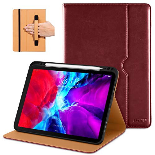 DTTO New iPad Pro 11 Case 2nd Generation 2020&2018, Premium PU Leather Business Folio Stand Cover [Apple Pencil Pair and Charge Supported] - Auto Wake/Sleep and Multiple Viewing Angles, Red