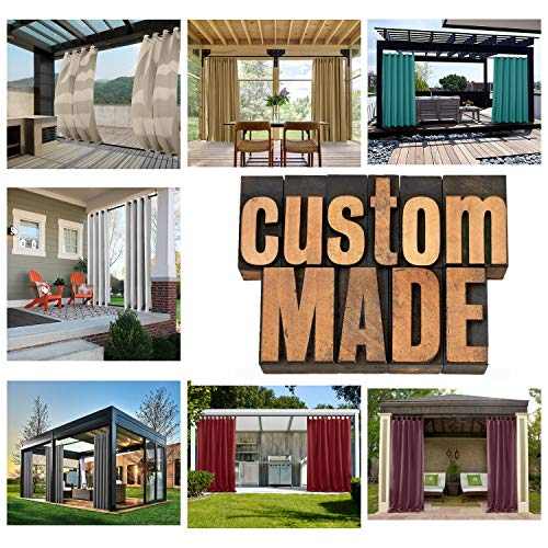 Macochico Outdoor Curtains Panels Waterproof Custom Outdoor Drapes Solid Color Noise Reducing Blackout Draperies Grommet for Patio Garden