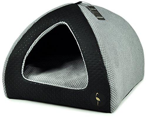 Lauren Design Hundehöhle kleine Hunde 50x50 cm | Katzenhöhle | Hundebett | Kuschelhöhle Hund Bella schwarz gesteppt/grau