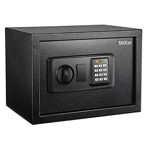 TACKLIFE Safe Box 0.5 Cubic Feet Digital Lock Box with Instruction Light for Money Safe Cash Jewelry Passport Gun Security-HES25A