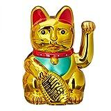 relaxdays statuina gatto porta fortuna/portafortuna, 16 cm, colore oro