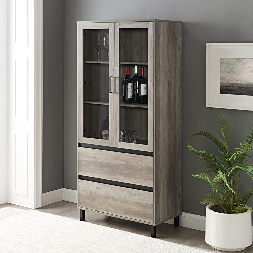 Walker Edison Furniture Company Glass Door Storage Hutch, 68 Inch, Grey Wash