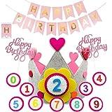 QAQHZW corona de cumpleaños, corona de cumpleaños para niño, corona de cumpleaños, corona de cumpleaños, números intercambiables para niños del 0 al 9 con 31 piezas de adorno para tarta