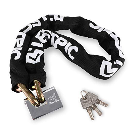 LEETPIC 3.6FT Heavy Duty Chain Lock Anti Theft Motorcycle Chain Lock Made with 12mm 3T Manganese Steel 110cm, Chain and Lock Antitheft and Shear...
