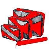 Desconocido JIER 4 Set Cubos de Embalaje, Organizadores para Maletas, Travel Packing Cubes, Equipaje de Viaje Organizadores, con Bolsa de Zapatos, Bolsa de Cosméticos (Rojo)