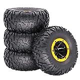 Comie Luftreifen Reifen, Aufblasbare Legierung Beadlock Rad Reifen 2,2 Zoll Kompatibel mit 1/10 TRX-4 90046 RC Auto DIY Zubehör Ersatzteile mit Inflator 4 Stücke (Gelb)