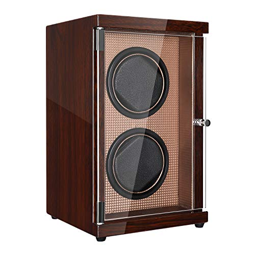 CHIYODA Double Watch Winder with Dual Quite Motors, LCD Touch Screen,12 Rotation Modes, High Gloss Brown