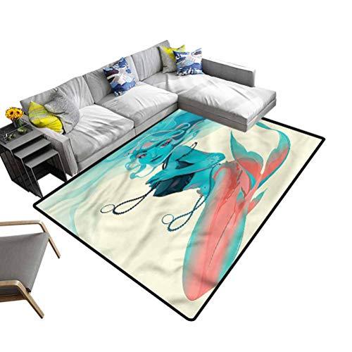 Mermaid, Soft Bedroom Rugs Gothic Mermaid Portrait Baby Floor Playmats Crawling Mat for Bedroom Playroom Nursery, Best Shower Gift, 6'x 9'