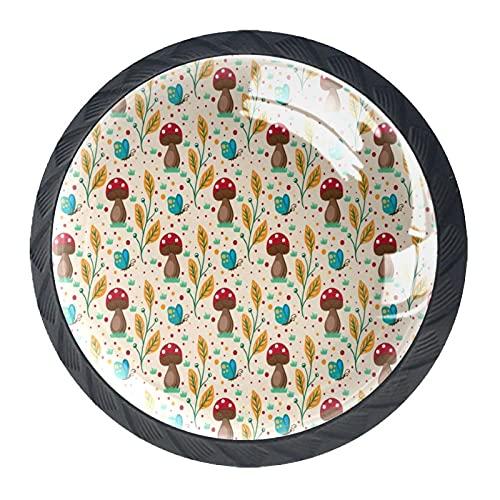 Nature Mushroom Background, 4 pomos de gabinete sólidos para cajones redondos de cristal para cocina, armario, baño
