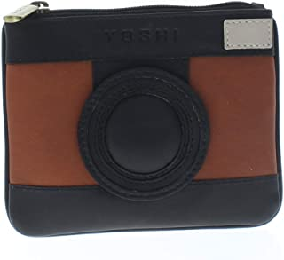 Yoshi Harness England Camera Leather Zip Applique Coin Wallet Purse