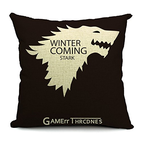 Poens Dream Cuscino, Game of Thrones Winter is Coming Cotton Linen Decorative Throw Pillow Case Cushion Cover, 17.7 x 17.7inches