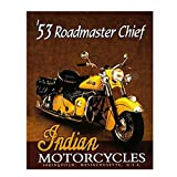 1953 Indian Roadmaster Chief Motorcycle- Vintage Poster Print- 8 x10' Retro Wall Decor- Ready To Frame. Home Decor- Office Decor. Indian Motorcycle Gifts- Perfect for Bar-Man Cave-Game Room-Garage.