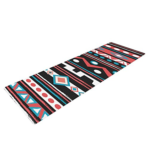 Kess eigene Nika Martinez Schwarz Tipi Yoga Matte, rot/Tribal, 72x 24