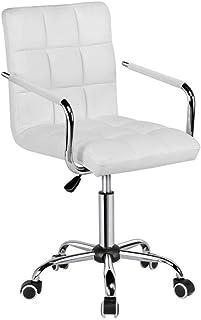 GUOCAO Moderno Las sillas de Escritorio Silla de Oficina con Ruedas Blancas/Armes Moderno PU Silla de Oficina Silla Ajustable Ejecutivo Ordenador Personal en Las Ruedas Videojuegos