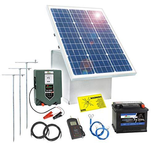 Solar Elektrozaun Komplett-Set: sofort startbereit inkl. sehr starken 12V Weidezaungerät, Metallbox, 50W Solar Panel, Erdung, Allen Kabeln, Prüfer, 50Ah Akku mit Säure & Diebstahlschutz