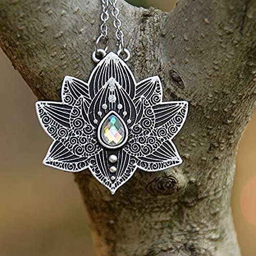 NC190 Collar de espíritu de Yoga para Mujer Collar de Loto Collar con Colgante de Cristal de Chakra