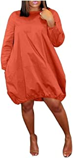 RkYAO Women's Pockets Blouse Casual Pure Color Pullover Classic Mid Dress