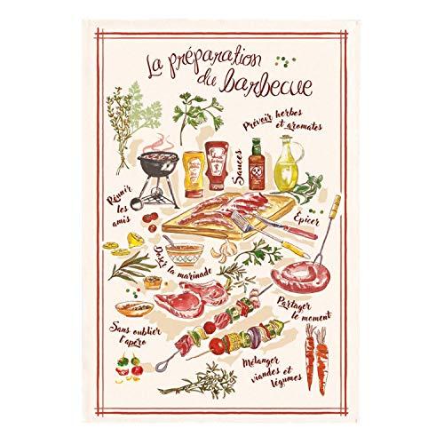 Winkler - Torchon - Torchon de cuisine - Chiffons de nettoyage - Serviette de cuisine - Torchon à vaisselle - Torchon de cuisine 100% Coton - 48 x 72 - Ecru - Le barbecue