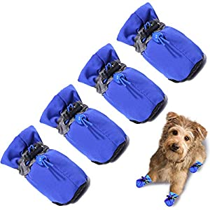 TEOZZO Dog Boots Paw Protector, Anti-Slip Winter Dog Shoes with Reflective Straps for Small Medium Dogs 4PCS(Size 4: 1.57″)