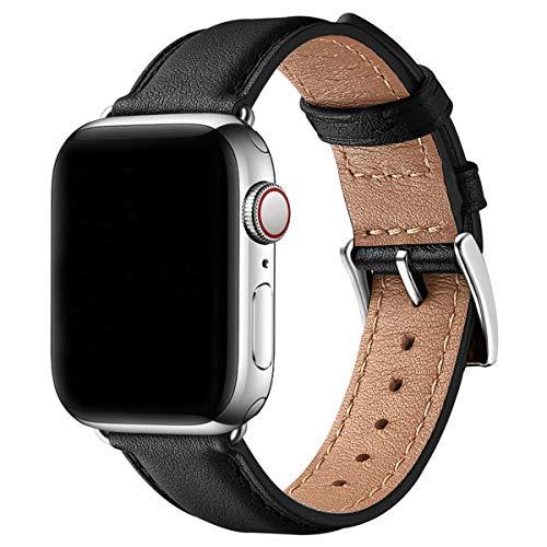 SUNFWR Leder Armband für Apple Watch Armband 44mm 40mm 38mm 42mm, Herren Damen Ersatz Original Lederband für iWatch Serie 6 5 4 3 2 1(42mm 44mm,Schwarz/Silber)