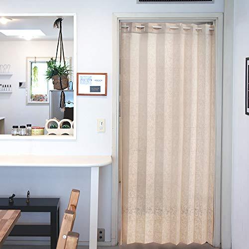 アコーディオン カーテン 間仕切り のれん 目隠し 遮熱 冷気遮断 アラベスク 150×200cm丈 (アイボリー)