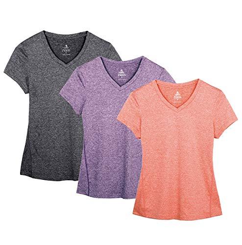 icyzone Damen Sport Fitness T-Shirt Kurzarm V-Ausschnitt Laufshirt Training Running Oberteile, 3er Pack (L, Charcoal/Lavender/Peach)