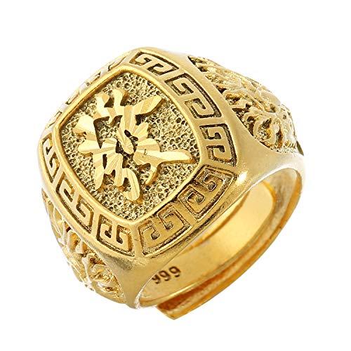 Prime Feng Shui Herren-Ring vergoldet verstellbar Kanji Rich/Luck/Wealth Ring Set Gold Bless All Bring Reichtum and Good Luck, Kupfer, FA