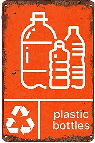 Pegatina de reciclaje para papelera de metal, diseño retro de metal, decoración de pared para bares, restaurantes, cafeterías, pubs de regalo de 20 cm x 30 cm, cartel de metal CF-9
