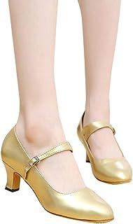 LLNONG Women 2019 New Mid-High Heels Glitter Dance Shoes Womens Ballroom Latin Tango Rumba Dance Shoes Sandals