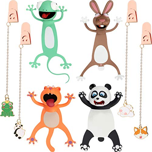 8 Pieces Cute Cartoon Animal Bookmarks, Includes 4 Pieces 3D Wacky Animal Bookmarks and 4 Pieces Metal Pendant Bookmarks for Kids Students Teachers Reading Presents Party Favors, 8 Designs