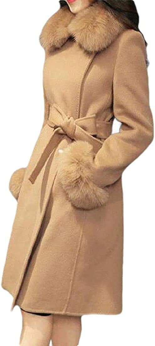 Yhsuk Womens Faux-Fur-Collar Lapel Long Sleeve Belted Overcoat Wool-Blend Cotton-Lined Pea Coat Jacket