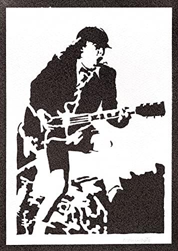 Póster Angus Young AC/DC Grafiti Hecho a Mano - Handmade Street Art -