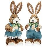 com-four® 2X Coniglietto Pasquale Decorativo per Decorazione Pasquale - Figure di Paglia ...