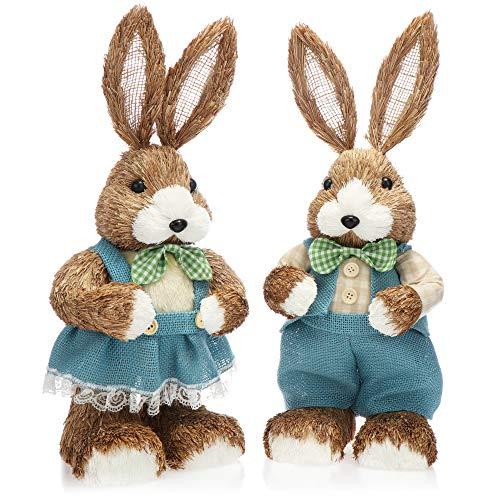 com-four® 2X Coniglietto Pasquale Decorativo per Decorazione Pasquale - Figure di Paglia per Pasqua - Coniglietto di Paglia Decorativo - Coniglietti Fatti a Mano - 42 cm (02 Pezzo 42cm Donna + Uomo)