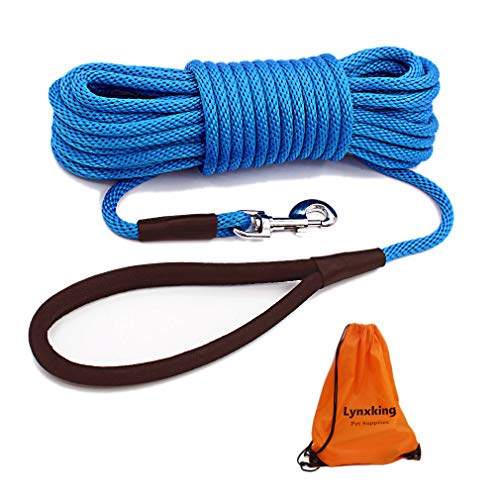 Lynxking Check Cord Dog Lead Long Dog Training Leash Tracking Line with Comfortable Handle Heavy Duty Puppy Rope Lead for Small Medium Large Dogs (30 feet x 3 8 in, Blue)